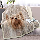BlessLiving Cute Puppy Dog Print Fleece Throw Blanket Reversible Sherpa Blanket Throws for Couch Bed Sofa Car Seat (Yorkshire Terrier,Throw, 50 x 60 Inches)