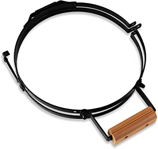 """Xingo BBQ Replacement Spring Assisted Band and Hinge Assembly Bracket with 4"""" Brown Wooden Handle for Mini Big Green Egg"""
