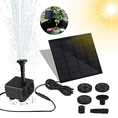 AidSci Solar Springbrunnen, Solar Teichpumpe Garten Wasserpumpe Solarpumpe mit 1,2W Monokristalline Solar Panel Brunnen und 4 Verschiedenen Düsen,für Gartenteich Springbrunnen,Garten,Kleiner teich