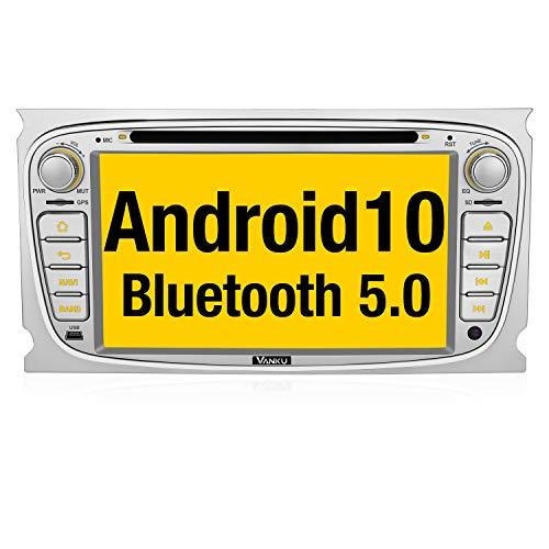 Vanku Android 10 Autoradio Radio für Ford mit Navi Unterstützt Qualcomm Bluetooth 5.0 DAB + CD DVD WiFi 4G Android Auto USB MicroSD 2 Din 7 Zoll Bildschirm Silber