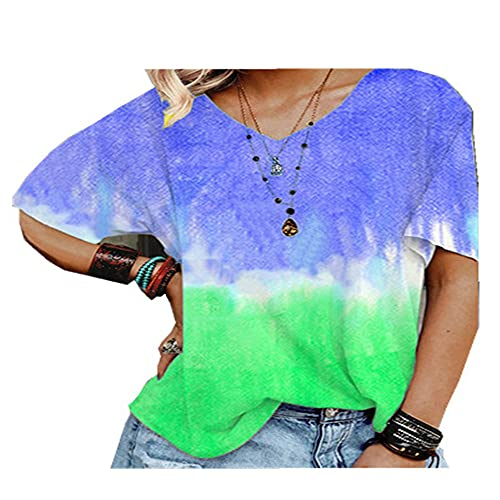 WAQD Yoga T-Shirts for Women Workout Tops Loose fit Womens Blouse Summer Casual Short Sleeve T Shirts Tops Women's Tops T-Shirt Short Sleeved Casual Blouse Print Shirt Tees Sport T-Shirt Blue