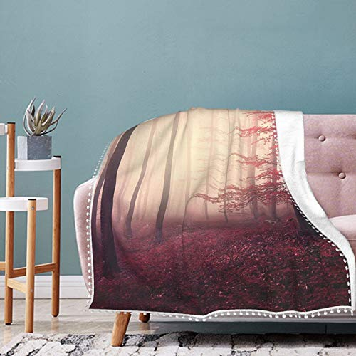 Alysai Fall Fantasy Marsala Foggy Forest Jungle Christmas Holiday Throw Blanket Warm Throws for Winter Bedding,Couch,Sofa and Gift 60'x50'