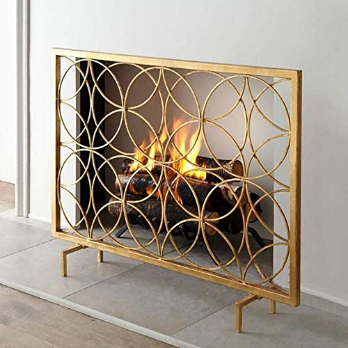 UWY Fireplace Screen Home and Hearth Single Panel Fireplace Screen, Large Iron Metal Geometric Fireplace Safety Spark Guard/Fire Screen Standing Gate, Gold (Color : Gold, Size : 1052068cm)
