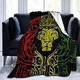 Yaxinduobao Bandera Africana El León de Judá Rasta Velvet Touch Ultra Felpa Manta de Lana con Estampado de Vacaciones