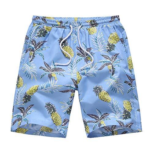 VENCANN Men's Floral Print Elastic Waist Beachwear Short