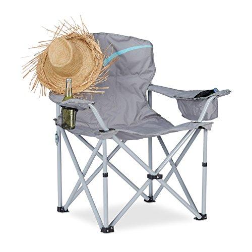 Relaxdays Silla Plegable de Camping con Posavasos, Aluminio y...