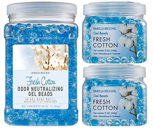 Smells Begone Odor Eliminator Gel Bead Value Pack - Air Freshener with Essential Oils - Eliminates Odors in Bathrooms, Pet Areas, Cars, & Boats- Fresh Cotton Scent