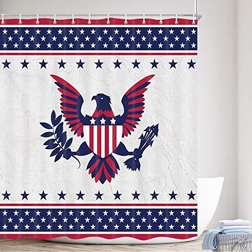 Duschvorhang, amerikanische Flagge, USA, patriotischer Adler, Sterne & Streifen, Flagge, 4. Juli, Unabhängigkeitstag, Heimdekoration, wasserdicht, Polyester, Badvorhänge mit Haken, 175,3 x 177,8 cm