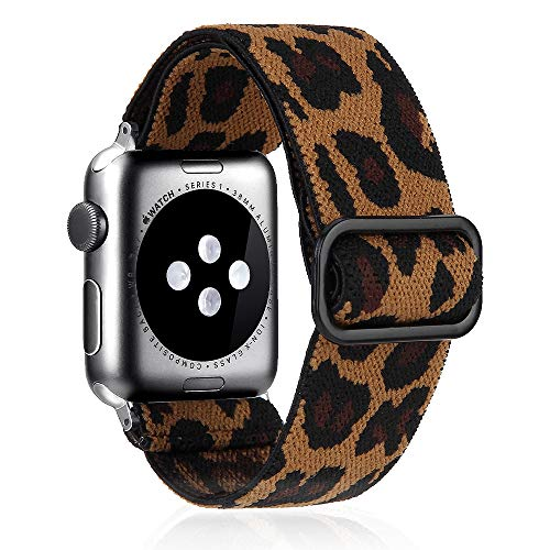 Nylon Adjustable Elastic Watch Band Compatible With Apple Watch 38mm 40mm 42mm 44mm,Leopard Stretchy Loop Strap Women Replacement Wristband Wristbelt For iWatch Series SE/6/5/4/3/2/1
