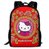Mei-shop Mochila Informal roja Personalizada Hello-Kitty Mochila Escolar de...