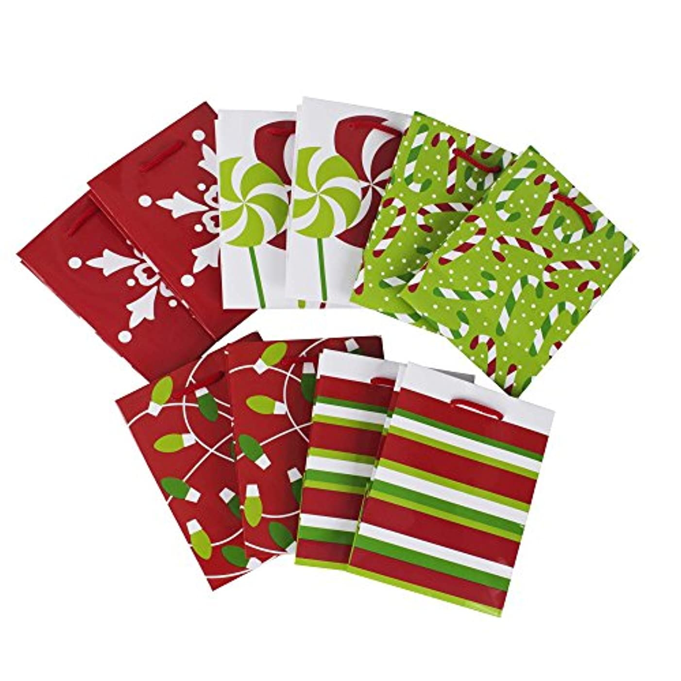 Image Arts Small Holiday Gift Bags, Peppermint (Pack of 10)
