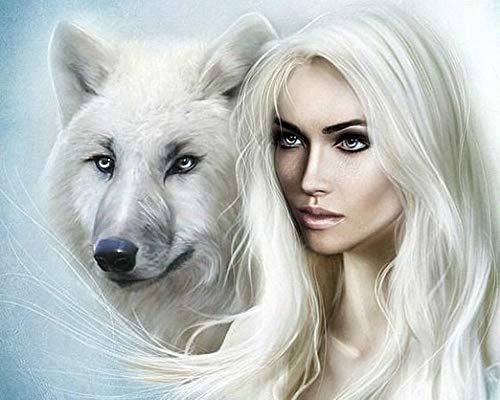Kit de pintura de diamante 5D, lobo y belleza para aliviar el estrés y decoración del hogar 40x50 cm