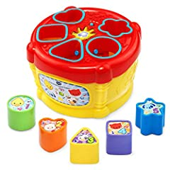 Sort the five colorful shape blocks and drop them into the Sort and Discover Drum to build motor skills The magic shape sorter recognizes each block and introduces animals, shapes and numbers Flashing light on top of the drum attracts your child's at...