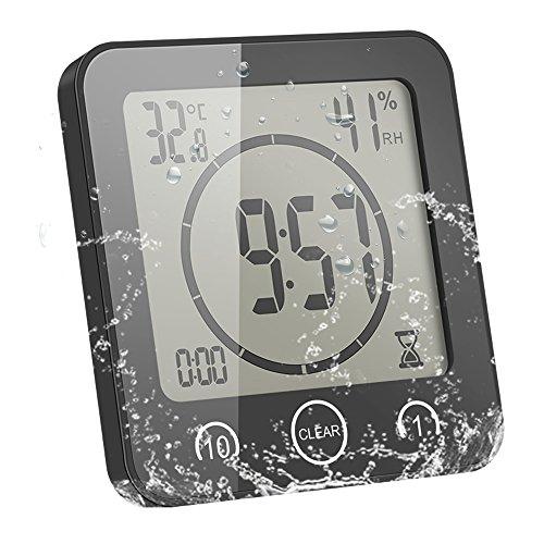 Sunsbell Digitale Baduhr, Wasserdicht Dusche Badezimmer Uhr mit Temperatur Luftfeuchtigkeit LCD-Bildschirm Display Intelligente Touch-Control Wanduhr Timer Küche (Schwarzes)