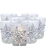 BANBERRY DESIGNS Snowflake Votive Candleholders with Flameless Flickering LED Candles 9 Frosted Glass Glittery Snowflakes with Jewels - 2-3/4'h