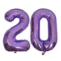 Idea Regalo - DIWULI, XXL giganti Palloncini, Numero 20, Palloncino Viola Numeri, Pallone in Foil Anni Gonfiabile Grande Gigante Ragazzo Ragazza, 20° Compleanno, Matrimonio, Nozze, Festa, Anniversario, Decorazione