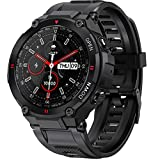 2021 Smart Watch for Android Phones Compatible with iPhone Bluetooth Dial and Answer Calls Built in Speaker Military Fitness Tracker Watch with Heart Rate Monitor Sleep Tracker for Men (Black)