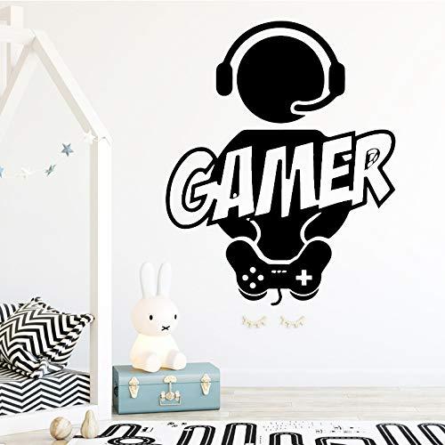 Tallado Gamer Etiqueta de la pared de vinilo Mural Wallpaper para niños decoración de la habitación calcomanías Boys Gaming Poster Decoración Etiqueta de la puerta Marrón L 43 cm X 53 cm