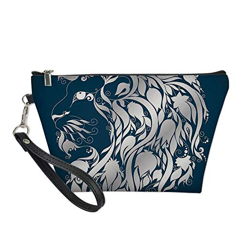 Zodiac Decor Useful Cosmetic Bag,Head Shape of Astrological Leo Portrait with Swirling Flower Branches Image for Travel ,21.5×14.5×6.5IN