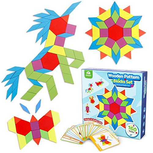 Coogam 160 Piezas Bloques de Patrones de Madera Juego de Forma geométrica de manipulación Manipulative - GráficosTangram Juguetes Regalo de Regalo de Stem para niños con 24 Piezas Tarjetas de diseño