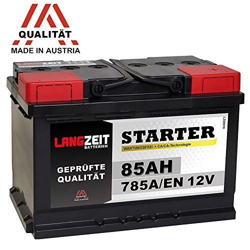 LANGZEIT Autobatterie 85Ah 12V ersetzt 72Ah 74Ah 75Ah 77Ah 80AH
