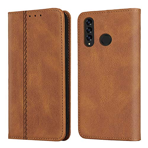 MC WHLZD Hülle für Huawei P30 Lite Lederhülle, Vintage Handyhülle mit Kartenfach Ständer, PU Leder Flip Klapphülle für Huawei P30 Lite, Braun