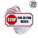 Autocollant Sticker Stop Pub, Pas de Publicité Boite Aux Lettres, Rymall 20pcs...
