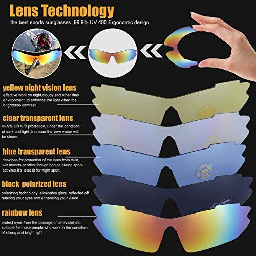 Sport Sonnenbrille Fahrradbrille Sportbrille mit UV400 5 Wechselgläser inkl Schwarze polarisierte Linse für Outdooraktivitäten wie Radfahren Laufen Klettern Autofahren Laufen Angeln Golf Unisex - 3