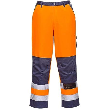 Portwest Lyon Hi-Vis Trousers for men, Regular Length, Colour: Orange/Navy, Size: S, TX51ONRS