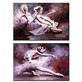 Stampa artistica da parete con motivo ballerina, poster e stampe di danzatore Pop Art su tela per soggiorno, 50 x 75 x 2 cm, cornice interna in legno