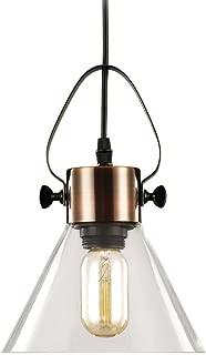 MStar Bedsides Pendant Lights, Ceiling Hanging Light Fixture with Clear Glass Shade, Antique Copper Adjustable Vintage E26 Farmhouse Chandelier for Kitchen Island/Bedsides/Hotels/Shops (1PC)