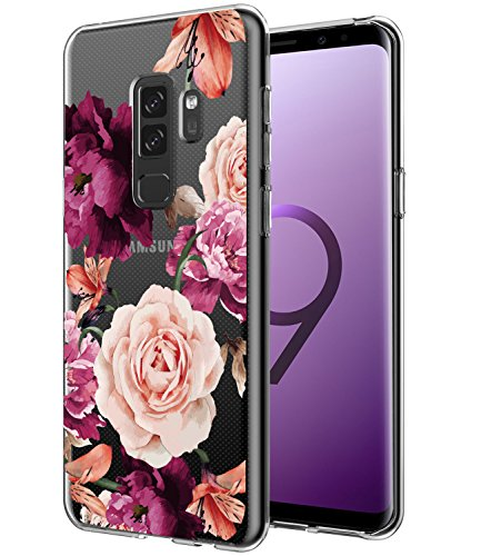 BAISRKE Galaxy S9 Plus Case, Galaxy S9+ Case with Flowers Slim Shockproof Clear Floral Pattern Soft Flexible TPU Back Cove for Samsung Galaxy S9+ Plus [Purple Pink]