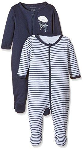 NAME IT Baby-Jungen NITNIGHTSUIT ZIP W/F NB B NOOS Schlafstrampler, Mehrfarbig (Dress Blues), 62 (2er Pack)