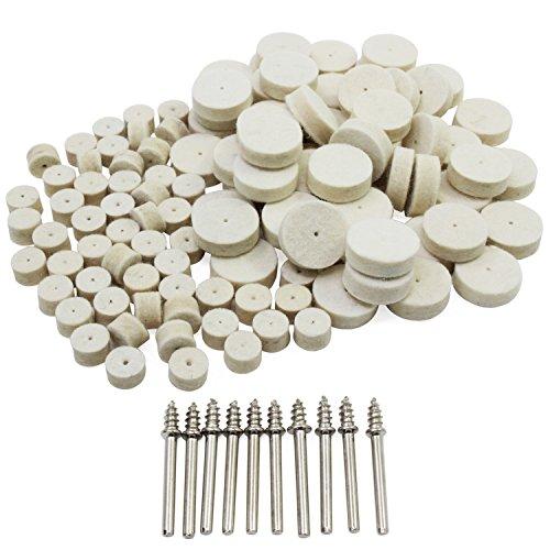 HSeaMall 100 STÜCKE 13mm 25mm Wollfilz Polierscheibe Polieren Polierscheibe Drehwerkzeug mit 10 STÜCKE Schaft Für Dremel Zubehör Rotary Drl Werkzeug