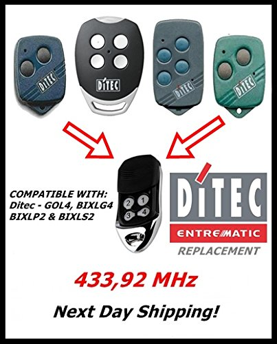 DITEC GOL4, BIXLG4, BIXLP2, BIXLS2 transmisor de control remoto compatible para puerta de garaje con código fijo 433,92 MHz
