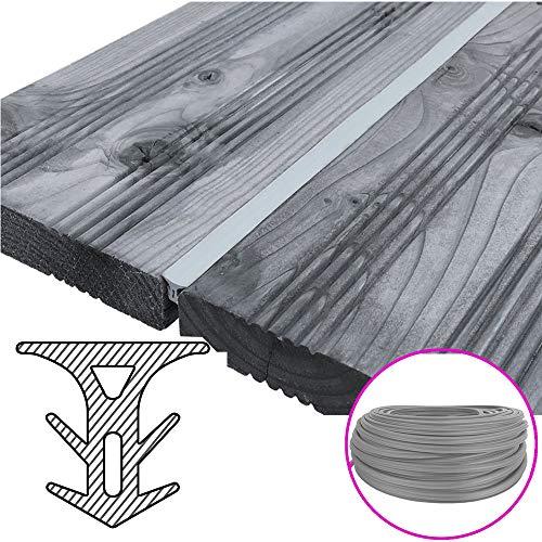 SunDeluxe Fugendichtband für Terrassendielen - Terrassenfugenband Made in Germany - Bodenfüllprofil/Fugendichtung für alle Terrassensysteme WPC Holz Stein, Farbe:Grau, Größe:Breite 8-10.5 mm / 25 m