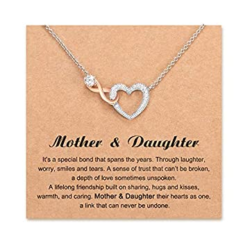 Shonyin Mother Daughter Necklace Mothers Day Gifts from Daughter Infinity Heart Pendant Necklace Jewelry for Women Mother in Law Mom Birthday Gift