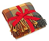 Classic Home Throw Blanket Shawl All Season Acrylic Cozy Soft Reversible Picnic Stadium Camp Blanket Fringe Plaid for Bed/Sofa/Couch,Cashmere-Like 50' W x 67' L (Pumpkin)