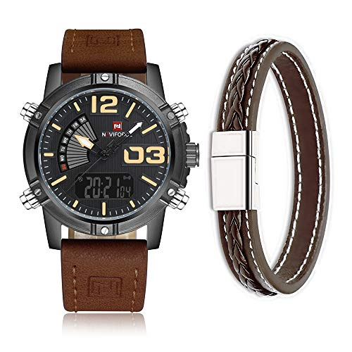 Cinturino in pelle stile militare sport analogico digitale orologio da polso uomo Naviforce, doppio fuso orario, sveglia, timer, LCD chiaro (marrone scuro)
