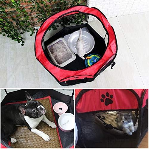 KEESIN Tente pour Animaux de Compagnie Pliable, Maison en Résille à 8 Ppanneaux, Chenil de Parc à Chiots pour Chien, Chat et Lapin(Rouge,L)