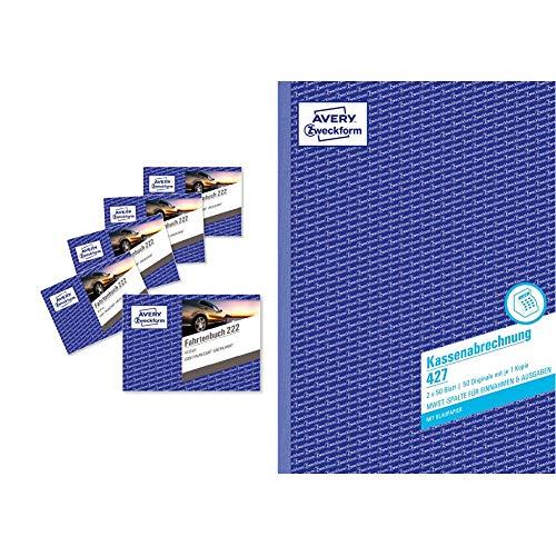 AVERY Zweckform 222-5 Fahrtenbuch (für PKW, vom Finanzamt anerkannt, A6 quer, 80 Seiten insgesamt 390 Fahrten) 5er-Pack & 427 Kassenabrechnung (A4, mit MwSt.-Spalte, 2x50 Blatt) weiß/gelb