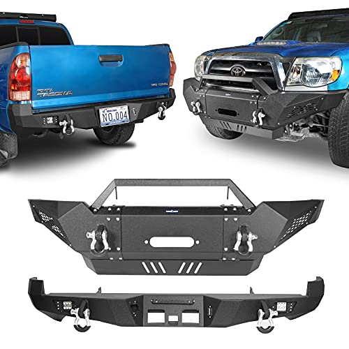 Hooke Road Tacoma Steel Front Winch Bumper & Rear Bumper Combo Compatible with Toyota Tacoma 2005-2015 2nd Gen Pickup Truck