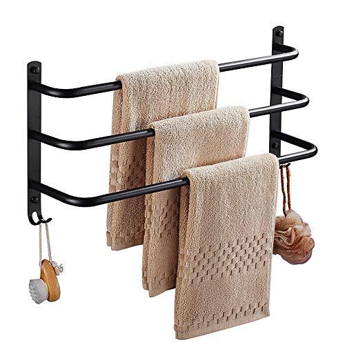 WANDOM Creatieve Zwarte Verf Handdoek Rack Toilet Zilver Spiegel Drie Lagen Handdoek Bar 40/50/60Cm Handdoek Rack Badkamer Hardware Kit 40Cm