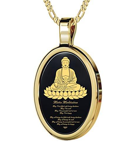 Nano Schmuck 925 Sterling Silber Vergoldet Buddha Halskette mit Metta Meditation - 24k Gold auf 15x21mm Schwarzem Onyx Anhänger in Vergoldet, 45cm Kette