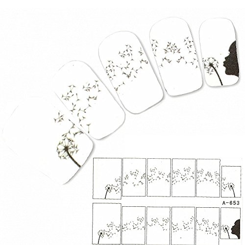 JUSTFOX - Tattoo Nagel Sticker Pusteblume Aufkleber Nail Art Flower Nägel Water Decal