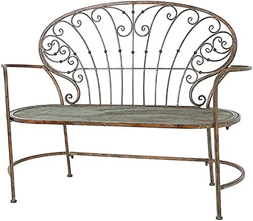 Banco al aire libre Banco de patio, muebles de porche delantero, silla retro de hierro forjado, balcón, jardín, silla doble de metal, respaldo hueco, reposabrazos simple, porche, taburete decorat