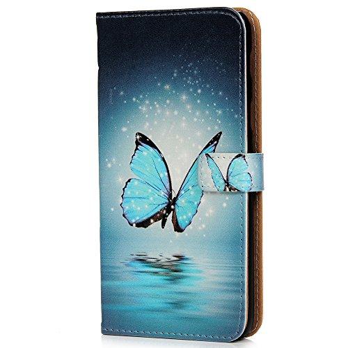 Vagenno Huawei Y6 2018/Huawei Honneur 7 A Coque Papillon Bleu