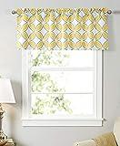 Dreamskull Tenda a pannello corta, opaca, per piccole finestre, per cucina, soggiorno, motivo geometrico, stile rustico, 45 cm di altezza, 130 cm (giallo)