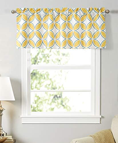 Dreamskull Cortina opaca para ventanas cortas, corta, corta, para cocina, salón, diseño geométrico moderno, rústico, 45 cm de alto, 130 cm de largo, color amarillo