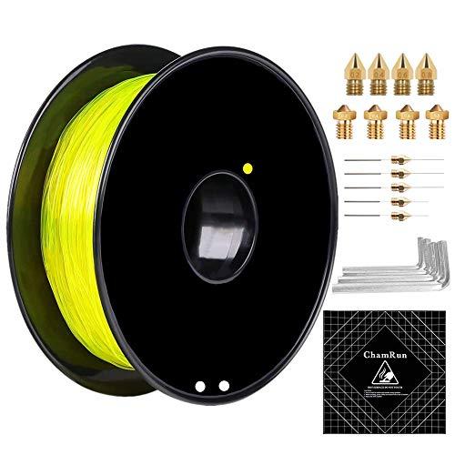 ChamRun - Filamento flessibile in TPU, 1,75 mm, 0,8 kg, con accessori 3D, precisione dimensionale +/- 0,03 mm, per stampante 3D Creality Ender 3s 5 CR10 V2 Prusa I3 1,75 mm, colore: Giallo